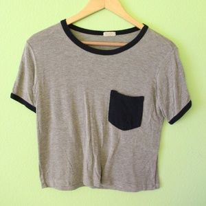 Brandy Melville Gray/Navy Cropped Ringer Tee
